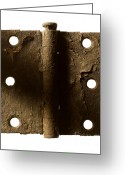 Weathered Objects Greeting Cards - Door Hinge Greeting Card by Tony Cordoza