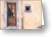 City Scene Drawings Greeting Cards - Door in Alsace Greeting Card by Wilfrid Barbier