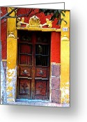 Darian Day Greeting Cards - Door in the House of Icons Greeting Card by Olden Mexico