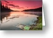 Twilight Greeting Cards - Door In the Lake Greeting Card by Evgeni Dinev