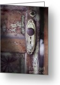 Knob Greeting Cards - Door Knob And Peeling Paint Greeting Card by Jill Battaglia