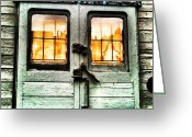 Prestigeclass Greeting Cards - Door Of An Old Steam Train Carriage Greeting Card by Rachel-Avalon Brightside