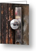 Unique Door Greeting Cards - Door Reflections Greeting Card by John Rizzuto