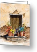 Adobe Greeting Cards - Door With Flower Pots Greeting Card by Sam Sidders