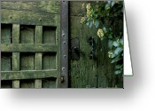 Entryway Greeting Cards - Door with padlock Greeting Card by Bernard Jaubert