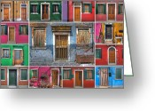 Collage Greeting Cards - doors and windows of Burano - Venice Greeting Card by Joana Kruse