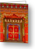 Tibetan Buddhism Greeting Cards - Doortibetan Temple China Greeting Card by Luis Castaneda Inc.