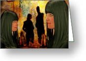 Signed Mixed Media Greeting Cards - Doppelganger Greeting Card by Chuck Staley