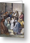 Rabbi Greeting Cards - DorÉ: Jesus With Doctors Greeting Card by Granger
