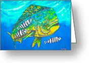 Pelagic Fish Tapestries - Textiles Greeting Cards - Dorado and Pilot Fish Greeting Card by Daniel Jean-Baptiste