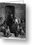 Alms Greeting Cards - Dore: Alms Giving, 1869 Greeting Card by Granger