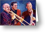 Music Legends Greeting Cards - Dorsey Brothers Meet Elvis Greeting Card by David Lloyd Glover