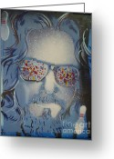 California Painting Greeting Cards - Dos Dudes Blue Greeting Card by Christopher  Chouinard