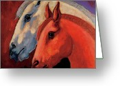 Imaginary Realism Greeting Cards - Dos Equus Greeting Card by Bob Coonts