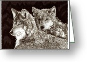 Wolves Drawings Greeting Cards - Dos Lobos y Amigas Greeting Card by Jack Pumphrey