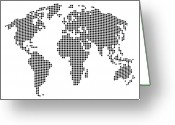 Earth Map Greeting Cards - Dot Map of the World - black and white Greeting Card by Michael Tompsett