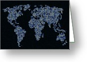 Earth Map Greeting Cards - Dot Map of the World - blue Greeting Card by Michael Tompsett