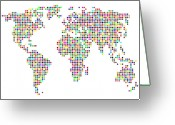 Countries Greeting Cards - Dot Map of the World - colour on white Greeting Card by Michael Tompsett