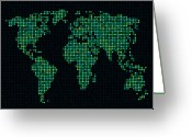Earth Map Greeting Cards - Dot Map of the World - green Greeting Card by Michael Tompsett