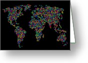 Countries Greeting Cards - Dot Map of the World - multi colours Greeting Card by Michael Tompsett