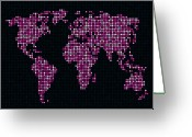 Planet Greeting Cards - Dot Map of the World - pink Greeting Card by Michael Tompsett
