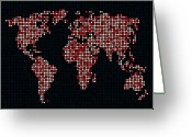 Earth Greeting Cards - Dot Map of the World - red Greeting Card by Michael Tompsett