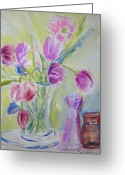 Vases Greeting Cards - Dottys Tulips Greeting Card by Nancy Brennand