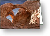 Red Rocks Greeting Cards - Double Arch in Late Afternoon Greeting Card by Mike McGlothlen