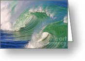 Surf Art Greeting Cards - Double Barrel Greeting Card by Paul Topp