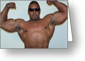 Men In Black Greeting Cards - Double Biceps Greeting Card by Jake Hartz