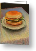 Tasty Pastels Greeting Cards - Double Cheeseburger Greeting Card by GPaul Lucas