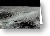 Lunar Photo Greeting Cards - Double Crater On Moon Greeting Card by Nasa