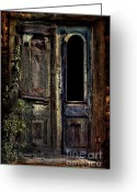 Rural Decay  Digital Art Greeting Cards - Double Door Greeting Card by Sari Sauls