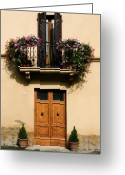Stucco Walls Greeting Cards - Double Doors and Balcony Greeting Card by Sally Weigand