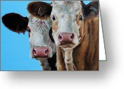 Charolais Greeting Cards - Double Dutch Greeting Card by Laura Carey