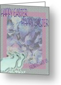 Couples Mixed Media Greeting Cards - Double Easter Greetings Greeting Card by Debra     Vatalaro