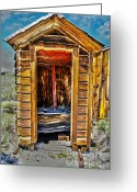 Vintage Outhouse Greeting Cards - Double Header Greeting Card by Cheryl Young