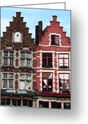 Red Building Greeting Cards - Double in Bruges Greeting Card by John Rizzuto