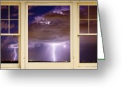 Lightning Weather Stock Images Greeting Cards - Double Lightning Strike Picture Window Greeting Card by James Bo Insogna