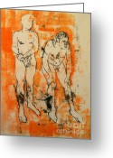 Nudes Drawings Greeting Cards - Double male nude Greeting Card by Joanne Claxton