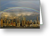 Rainbows Greeting Cards - Double Rainbow Over NYC Greeting Card by Susan Candelario