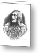 Native Drawings Greeting Cards - Double Runner Greeting Card by Lee Updike