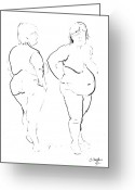 Nudes Drawings Greeting Cards - Double standing female nude Greeting Card by Joanne Claxton
