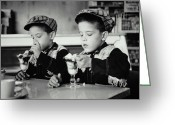 Children Ice Cream Greeting Cards - Double Sundae Greeting Card by Archive Holdings Inc.
