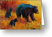 West Greeting Cards - Double Trouble - Black Bear Family Greeting Card by Marion Rose