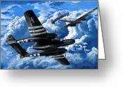 Plane Drawings Greeting Cards - Double Trouble Greeting Card by Charles Taylor