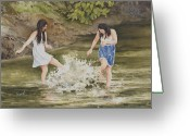 Twins Greeting Cards - Double Trouble Greeting Card by Sam Sidders