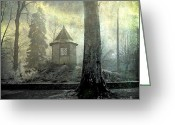 Bare Trees Greeting Cards - Dovecote Greeting Card by Bernard Jaubert