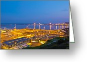 Nikon D200 Greeting Cards - Dover Port At Night Greeting Card by Michael Stretton