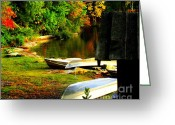 Sheds Greeting Cards - Down By the Riverside Greeting Card by Karen Wiles